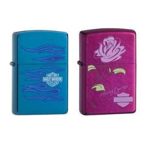 Zippo Lighter Set   Harley Davidson Sapphire Ghost and Candy Raspberry