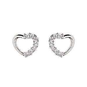 925 Sterling Silver Rhodium Plated Open Heart CZ Stud Earrings with