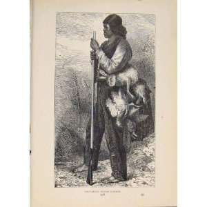 Hunter Hunt Hunting Indian Indians Antique Old Print Home & Kitchen