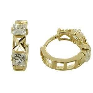 Textured CZ Allure 14K Yellow Gold Huggie Earrings Jewelry