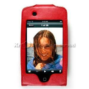 iPod Touch iTouch 8GB 16GB Premium Red Leather KickStand Carrying Case