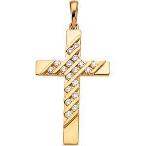 Genuine IceCarats Designer Jewelry Gift 14K Yellow Gold Cross Pendant