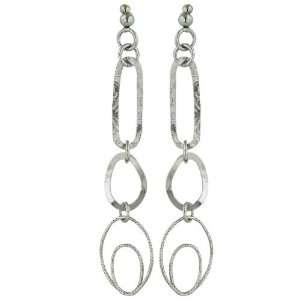 Linked Open Italian .925 Sterling Silver Post Dangle Earrings Jewelry