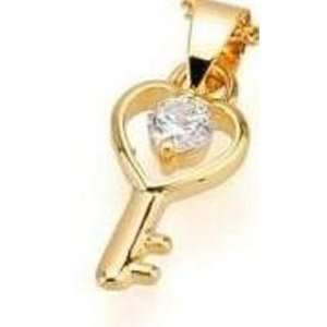 18 Karat Gold Plated Key Pendant and Chain