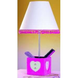 Pink Fur Accessory Box Lamp w/ 3 Photo Frames Home