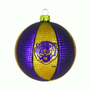 LSU Tigers Blown Glass Basketball Christmas Ornaments 2.5 Home