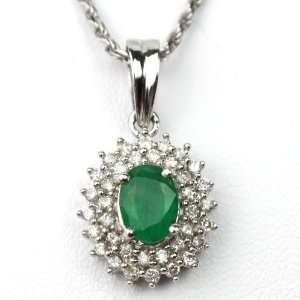 14k White Gold, Natural Emerald and Diamonds Pendant, 16