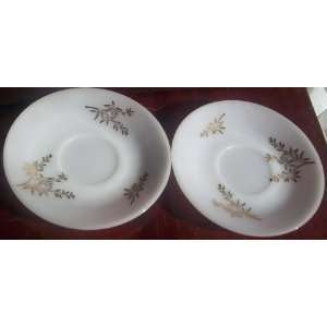 Federal Milk Glass Golden Glory Pattern Gold Painted Saucers (Set of