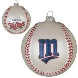 Pack of 2 MLB Minnesota Twins Glass Baseball Christmas