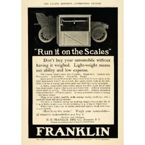 1908 Ad H. H. Franklin Antique Automobile Weight Scale