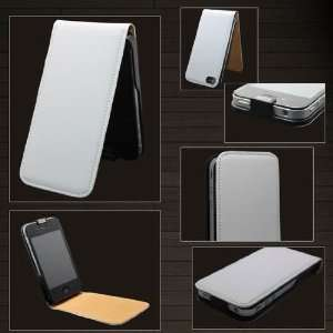 Genuine Leather Flip Case White Brown For Apple iPhone 4G