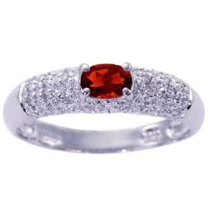 Oval Gemstone and Diamond Promise Ring Garnet, size5 diViene Jewelry