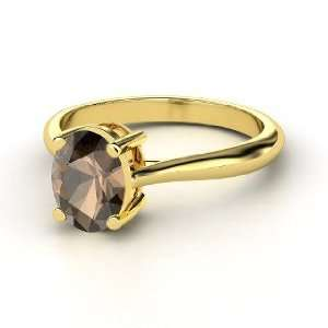 Oval Solitaire Ring, Oval Smoky Quartz 14K Yellow Gold Ring Jewelry
