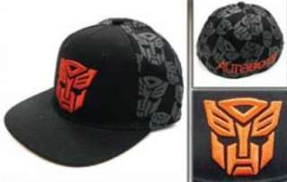 Red Autobots Print on Back Black Fitted Baseball Cap Hat Clothing