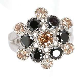 Black & Champagne Flower Ring Jewelry