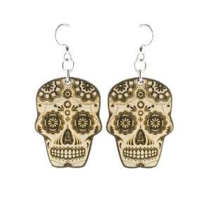 Natural Wood Sugar Skull Earrings Green Tree Jewelry Jewelry