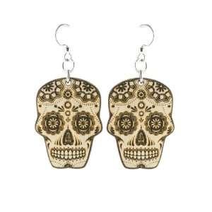 Natural Wood Sugar Skull Earrings Green Tree Jewelry Jewelry