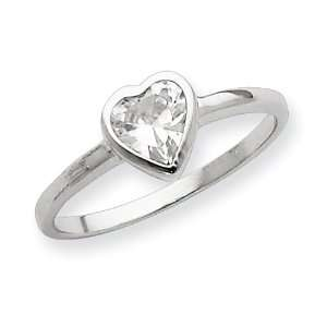 Sterling Silver Solitaire Heart CZ Ring   Size 6 West