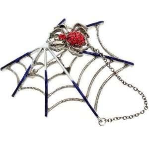 Jewellery   Red Swarovski Crystal   Purple Spider Web Brooch Jewelry