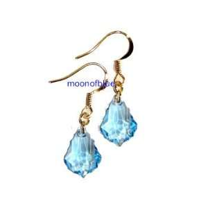 14K Gold Plated Swarovski Blue Crystal Earrings Arts, Crafts & Sewing