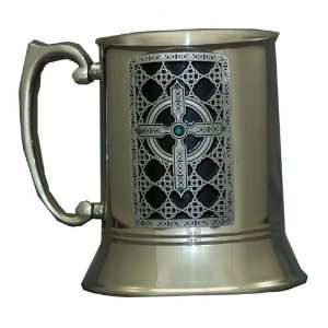 Ornate Celtic Cross Swarovski Crystal Stainless Steel Tankard
