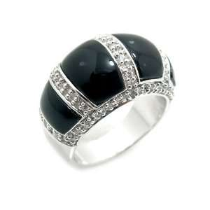 Black Onyx & Swarovski Crystal Designer Style Sterling Silver Ring