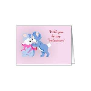 Valentines Day with cuddling teddy bears cute Be my Valentine Card