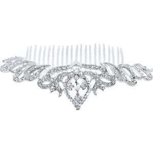 Fancy Hair Jewelry, Round Brilliant Crystals Silvertone Tiara Crown