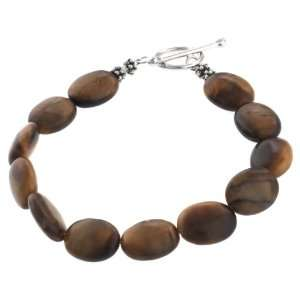 Sterling Silver and Tiger Eye Oval Beaded Bracelet, 7.5 Jewelry