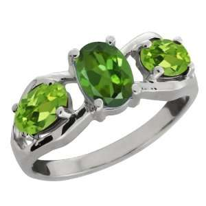Ct Oval Tourmaline Green Mystic Topaz and Peridot Sterling Silver Ring