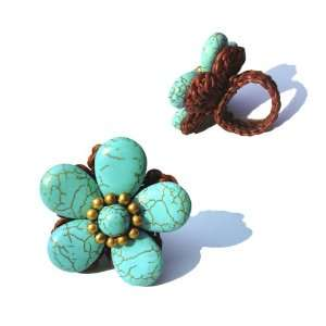 Flower Turquoise color Ring with Wax Cord (Adjustable Ring