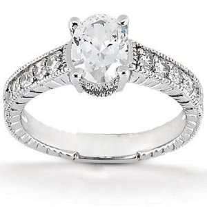 Timeless Antique Oval Diamond Ring in 14K White Gold Jewelry