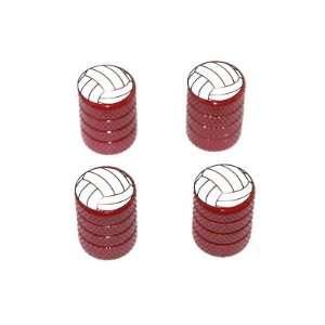 Volleyball   Sport Tire Rim Valve Stem Caps   Red