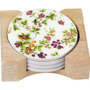 CounterArt Classic Fruit Design Round Absorbent Coasters in Wooden