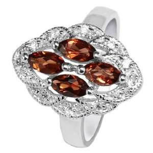 Diamond Accented Natural Red Garnet Ring