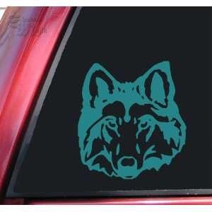 Wolf Head #1 Vinyl Decal Sticker   Teal