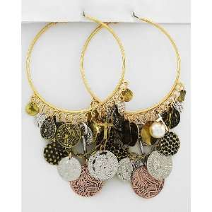Basketball Wives Inspired Gold Tone Hoop Earrings ~ Antique Coins