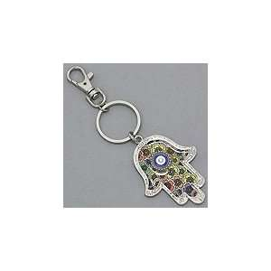Hamsa (Hands of God) Keychain, Muliti color Silver