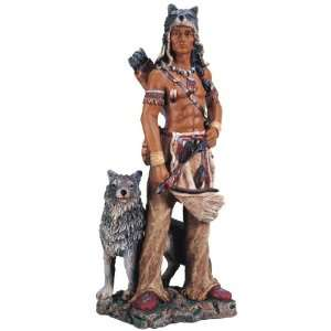 Native American Warrior w/ Wolf Collectible Indian Figurine Sculpture