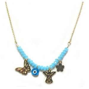 Golden Fashion Blue Evil Eye Necklace with Butterfly and Angel Charms