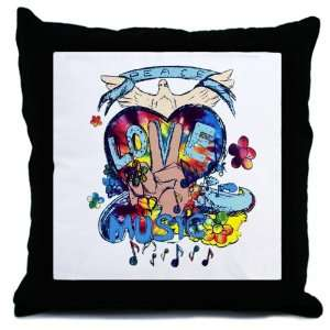 Throw Pillow Peace Love Music   Peace Symbol Sign