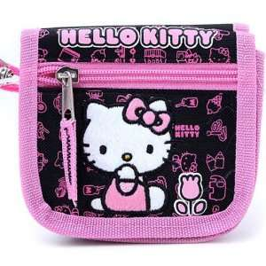Sanrio Pink/Black Tulip Hello Kitty Wallet With Strap