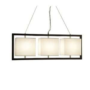 Nova 11095 Cuadro 3 Light Pendant, Dark Brown Wood with White Linen
