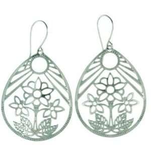 Lace Flower Pot Design Teardrop Shaped Stainless Steel Dangle Earring