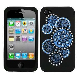Apple iPhone 4 Diamond Circle (Dr Blue/Black) Premium Laser cut Skin