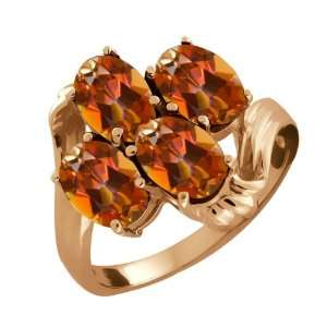 3.80 Ct Oval Ecstasy Mystic Topaz 14k Rose Gold Ring Jewelry