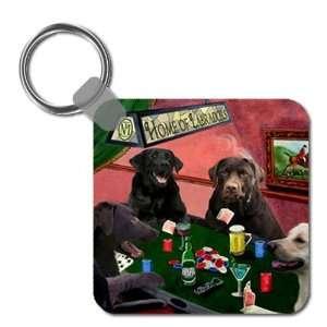 : Labrador Retriever Four Dogs Playing Poker Keychain: Home & Kitchen
