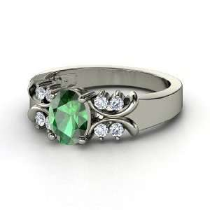 Gabrielle Ring, Oval Emerald 14K White Gold Ring with
