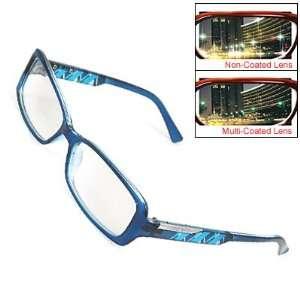 Como Ladies Men Blue Plastic Rectangular Frame Multi Coated Lens Plain
