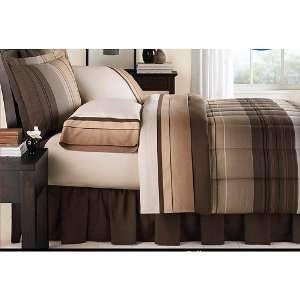Brown & Tan Striped Boys Twin Comforter Set (6 Piece Bed In A Bag